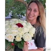 White roses and one red rose - Photo 1