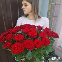 Bouquet of 25 red roses with ribbon - Photo 1