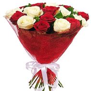 """15 red and white roses"" in the online flower shop df.ua"