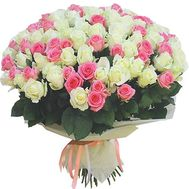 Bouquet of 131 white and pink roses - flowers and bouquets on df.ua