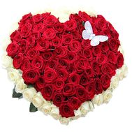 Bouquet of red and white roses in the form of heart - flowers and bouquets on df.ua