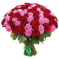 Bouquet of red and pink roses 101 - flowers and bouquets on df.ua
