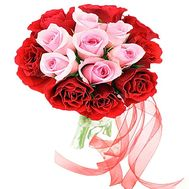 17 red and pink roses - flowers and bouquets on df.ua