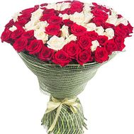 Bouquet of white and red roses - flowers and bouquets on df.ua
