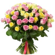 Bouquet of pink and yellow roses - flowers and bouquets on df.ua