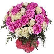 """""""Розовые и белые розы в букете"""" в интернет-магазине цветов df.ua"""
