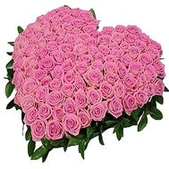 Heart of 101 pink roses - flowers and bouquets on df.ua