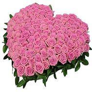 Сердце из 101 розовой розы - цветы и букеты на df.ua