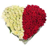 Сердце из 101 розы белой и красной - цветы и букеты на df.ua