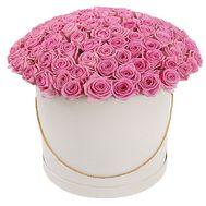 101 роза в шляпной коробке - цветы и букеты на df.ua
