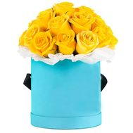 25 yellow roses in a round box - flowers and bouquets on df.ua