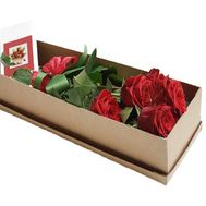 5 roses with a bow in the box - flowers and bouquets on df.ua