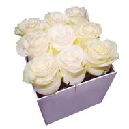 9 white roses in a square box - flowers and bouquets on df.ua