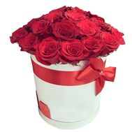 Scarlet roses in a round box - flowers and bouquets on df.ua