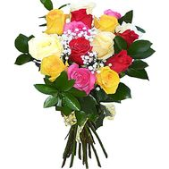 Bouquet of 17 multi-colored imported roses - flowers and bouquets on df.ua