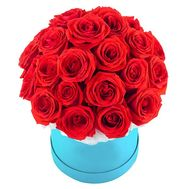 Red roses in a round box - flowers and bouquets on df.ua