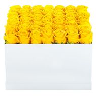Square box with yellow roses - flowers and bouquets on df.ua
