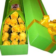 Gift yellow roses in a box - flowers and bouquets on df.ua