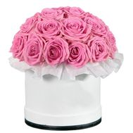 Roses are pink in box - flowers and bouquets on df.ua