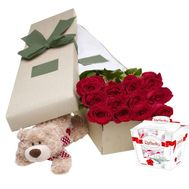 Roses in a Box, Teddy Bear and Raffaello - flowers and bouquets on df.ua