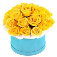 Round box with yellow roses - flowers and bouquets on df.ua
