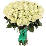 Stunning bouquet of 51 white imported roses - flowers and bouquets on df.ua