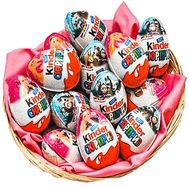 Eggs kinder surprise in the basket - flowers and bouquets on df.ua
