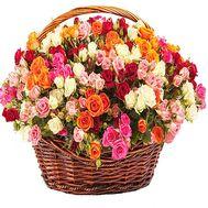 101 разноцветная кустовая роза в корзине - цветы и букеты на df.ua