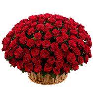 201 красная роза в корзине - цветы и букеты на df.ua