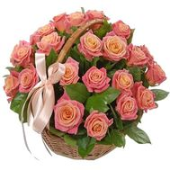 21 roses in a basket with a bow - flowers and bouquets on df.ua