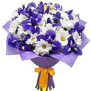 White-blue bouquet with irises and chrysanthemum - flowers and bouquets on df.ua