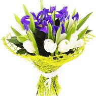 A bouquet of white tulips and blue irises - flowers and bouquets on df.ua
