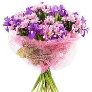 Bouquet of chrysanthemum and blue irises - flowers and bouquets on df.ua