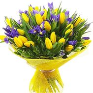 Bouquet of irises and tulips - flowers and bouquets on df.ua