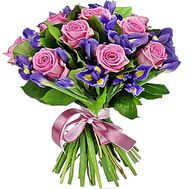 Bouquet of roses and irises - flowers and bouquets on df.ua
