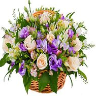 """Flower basket from alstroemerias, roses and caucasus"" in the online flower shop df.ua"