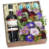 Flowers and wine in a box - flowers and bouquets on df.ua