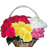 Basket of different roses - Rainbow - flowers and bouquets on df.ua