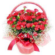 Червоні гвоздики в кошику - цветы и букеты на df.ua