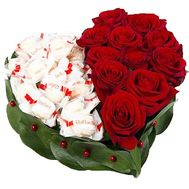 Heart of Roses and Raffaello sweets - flowers and bouquets on df.ua