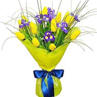 Blue-yellow bouquet of irises and tulips - flowers and bouquets on df.ua