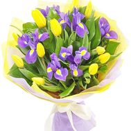 Yellow tulips and blue irises - flowers and bouquets on df.ua