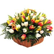 101 tulip in the basket - flowers and bouquets on df.ua