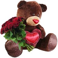 Big teddy bear and bouquet of roses - flowers and bouquets on df.ua