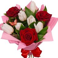 Bouquet of roses and tulips - flowers and bouquets on df.ua