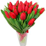 Bouquet of red tulips with ribbon - flowers and bouquets on df.ua