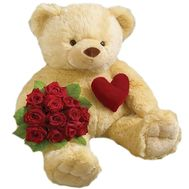 Bouquet of roses and a bear - flowers and bouquets on df.ua