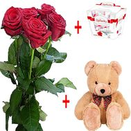 Bouquet of roses and rafaello and teddy bear - flowers and bouquets on df.ua