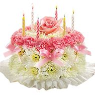 Flower cake with candles - flowers and bouquets on df.ua