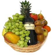 Fruits and wine in the basket - flowers and bouquets on df.ua